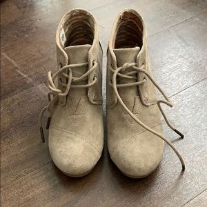 Taupe TOMS wedge booties